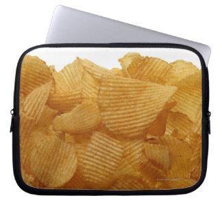 Potato crisps on white background, DFF image Laptop Sleeve