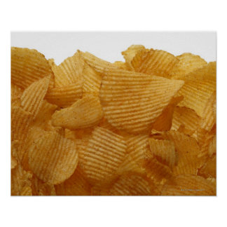 Potato crisps on white background, DFF image Poster