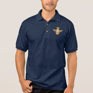Potato Flight Crew Wings Crown Pilot Funny Cool Polo Shirt