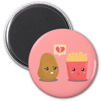 Potato is Heart Broken over French Fries 2 Inch Round Magnet
