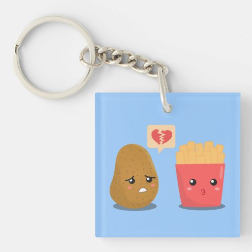 Potato is Heart Broken over French Fries Double-Sided Square Acrylic Keychain