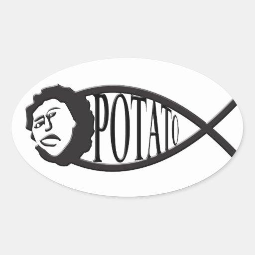 Potato Jesus Fish Emblem Sticker