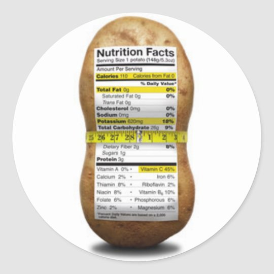 Potato Nutritional Facts Classic Round Sticker