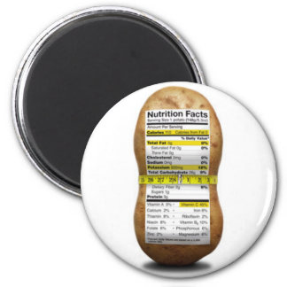 Potato Nutritional Facts 2 Inch Round Magnet