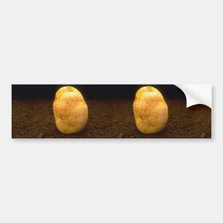Potato on dirt car bumper sticker