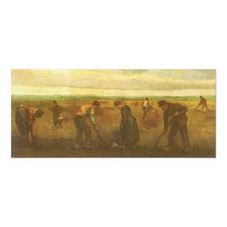 Potato Planting by van Gogh, Vintage Impressionism 4x9.25 Paper Invitation Card