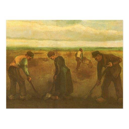 Potato Planting by van Gogh, Vintage Impressionism Post Card