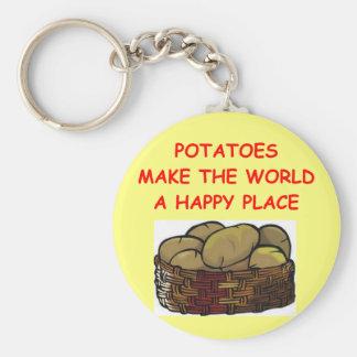 potato potatoes basic round button keychain