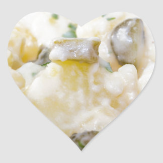 Potato salad with sausage and mustard heart sticker