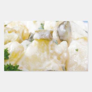 Potato salad with sausage and mustard rectangular sticker