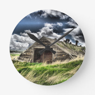 Potato Shed in the Storm Round Wall Clocks