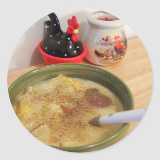 potato soup classic round sticker