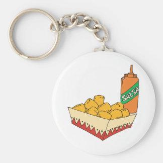potato tater tots with salsa basic round button keychain