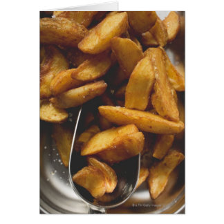 Potato wedges with salt (detail) greeting card