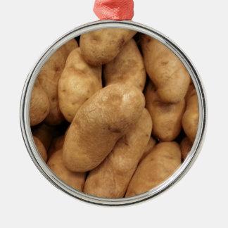 Potatoes Round Metal Christmas Ornament