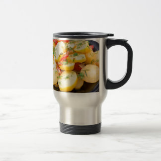 Potatoes with onion, bell pepper and fennel travel mug