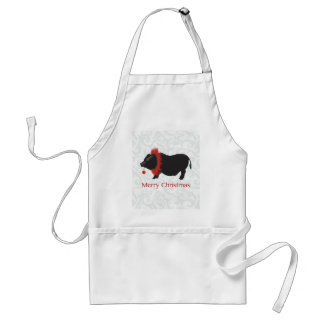 Potbellied Pig Merry Christmas Design Adult Apron