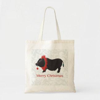 Potbellied Pig Merry Christmas Design Budget Tote Bag