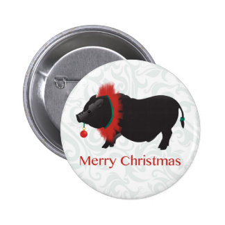 Potbellied Pig Merry Christmas Design Pins
