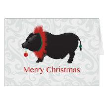 Potbellied Pig Merry Christmas Design Card