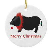 Potbellied Pig Merry Christmas Design Ceramic Ornament