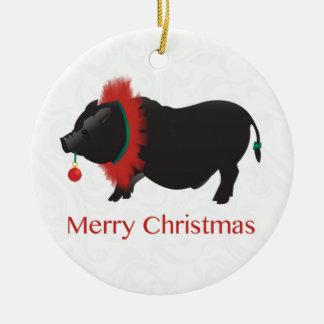 Potbellied Pig Merry Christmas Design Ceramic Ornament