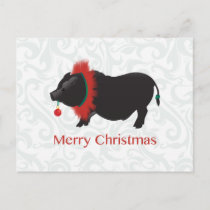 Potbellied Pig Merry Christmas Design Holiday Postcard