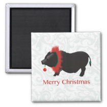 Potbellied Pig Merry Christmas Design Magnet