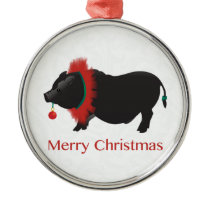 Potbellied Pig Merry Christmas Design Metal Ornament