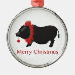 Potbellied Pig Merry Christmas Design Round Metal Christmas Ornament