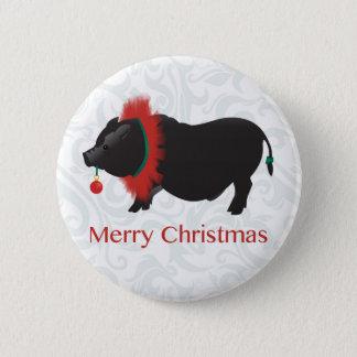 Potbellied Pig Merry Christmas Design Pinback Button
