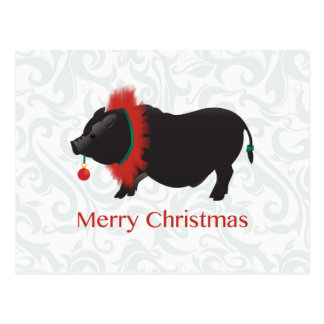 Potbellied Pig Merry Christmas Design Post Card