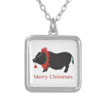 Potbellied Pig Merry Christmas Design Silver Plated Necklace