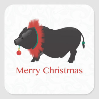 Potbellied Pig Merry Christmas Design Square Sticker