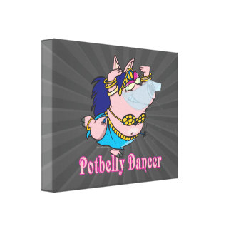potbelly pig belly dancer funny piggy gallery wrapped canvas