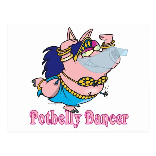 potbelly pig belly dancer funny piggy postcard