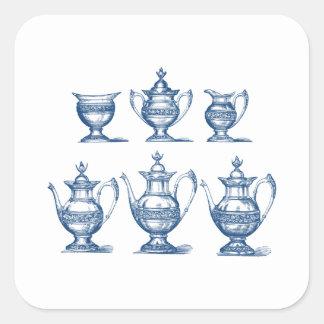 Pote azul del café con leche del juego de té del colcomanias cuadradas personalizadas