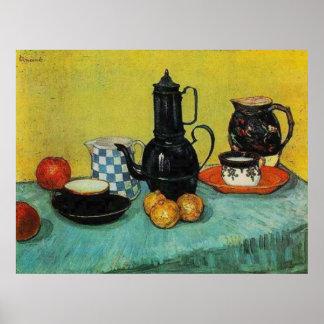 Pote azul del café del esmalte de Vincent van Gogh Posters