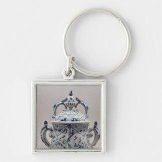 Pote, azul y blanco del posset de Lambeth Delftwar Llavero Cuadrado Plateado