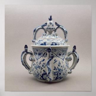 Pote, azul y blanco del posset de Lambeth Delftwar Póster