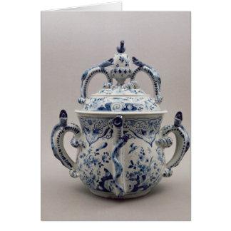 Pote, azul y blanco del posset de Lambeth Delftwar Tarjeta De Felicitación