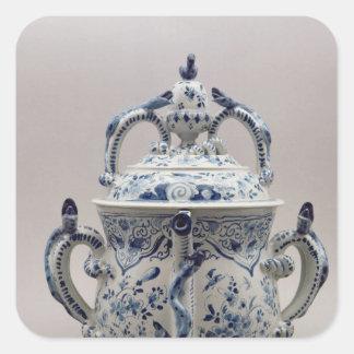 Pote, azul y blanco del posset de Lambeth Pegatina Cuadrada