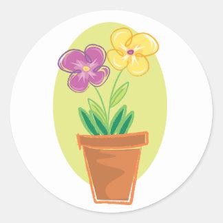 Pote bonito de flores pegatina redonda