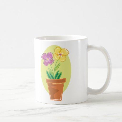 Pote bonito de flores taza básica blanca
