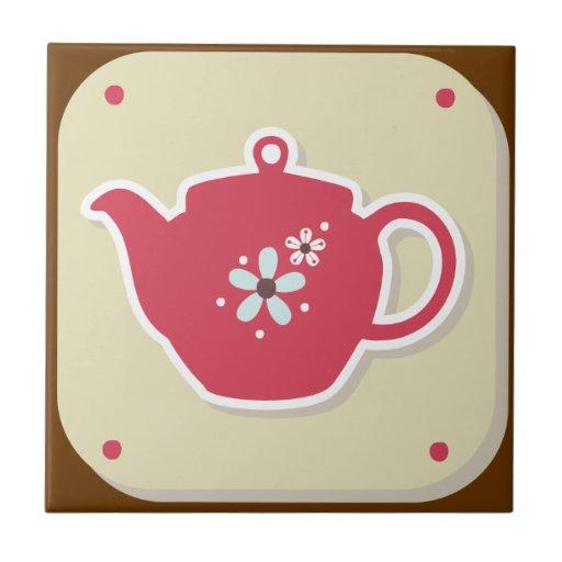 Pote - cocina fijada - Trivet retro del té Azulejo Cuadrado Pequeño