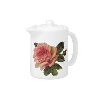 Pote color de rosa retro del té del vintage