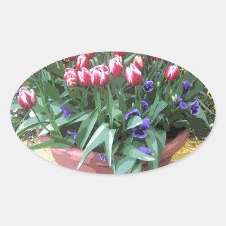 Pote de arcilla del tulipán de la primavera pegatina ovalada