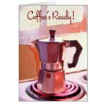 Pote de cobre de café en la estufa tarjeta de felicitación
