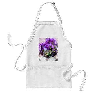 Pote de flores púrpuras delantal