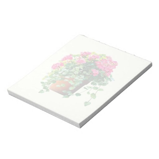 Pote de geranios rosados libretas para notas